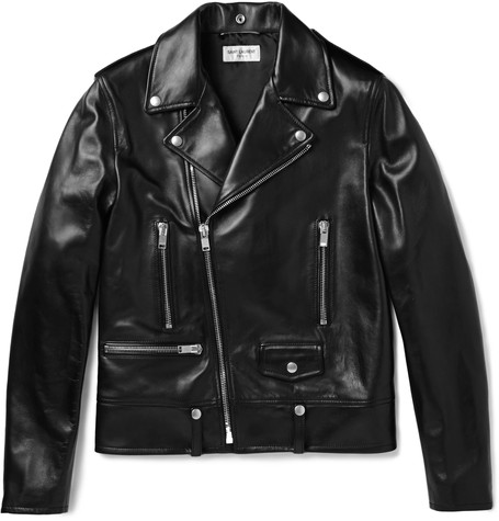 Black Leather Biker Jacket in Brown