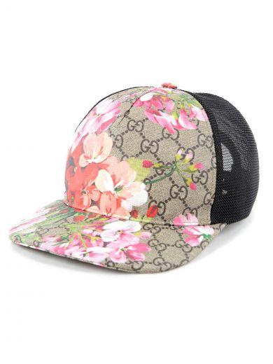 Blooms Gg Supreme Canvas Baseball Cap in Beige/Ebony