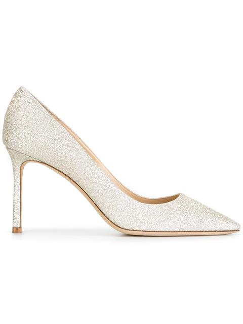 Romy 85 Glittered Leather Pumps in Metallic