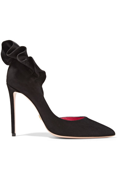 Adele Ruffle-Trimmed Suede Pumps in Black