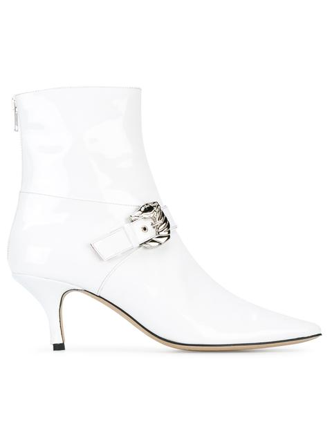 DORATEYMUR Saloon Buckled Patent-Leather Ankle Boots in White