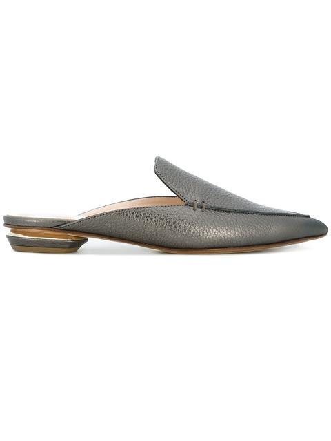 NICHOLAS KIRKWOOD Beya Glitter-Embellished Backless Loafers, Grey