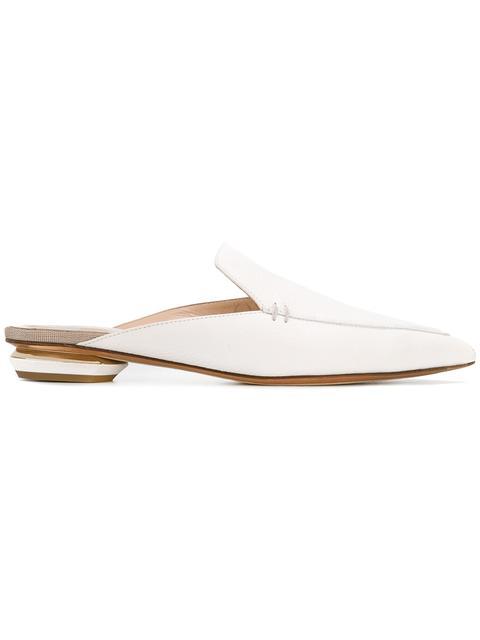 'Beya' Metal Heel Leather Skimmer Loafer Mules in White