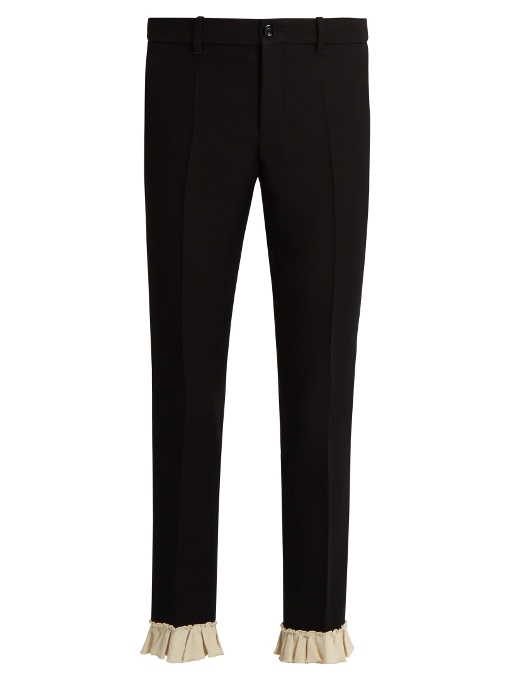 Ruffle-Trimmed Silk And Wool-Blend Cady Trousers, Black