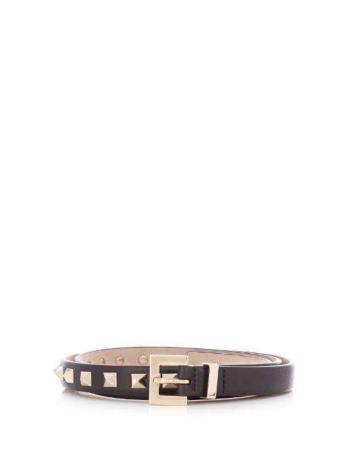 Garavani Rockstud Skinny Calfskin Leather Belt in Black