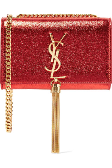 SAINT LAURENT Monogramme Kate Small Metallic Textured-Leather Shoulder Bag 8850ae8fd7f7e