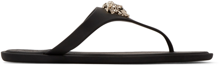 'Medusa Palazzo' Thong Sandals in Black