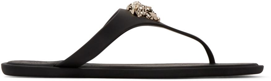 'Medusa Palazzo' Thong Sandals, Black