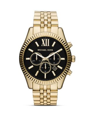 'Large Lexington' Chronograph Bracelet Watch, 45Mm in Gold/ Black