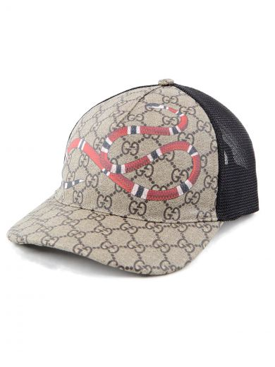 Rap Baseball Cap With Snake And Gg Logo Detailing in Beige/Ebony