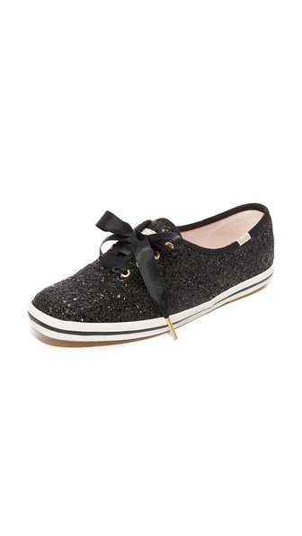 X Kate Spade New York Women'S Glitter Lace Up Sneakers in Black