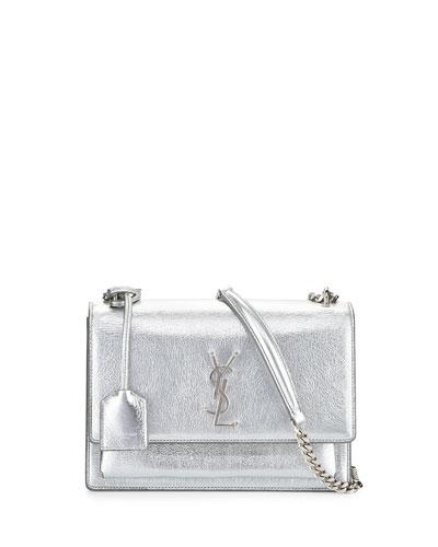 Monogram Sunset Medium Chain Shoulder Bag, Silver, Platine