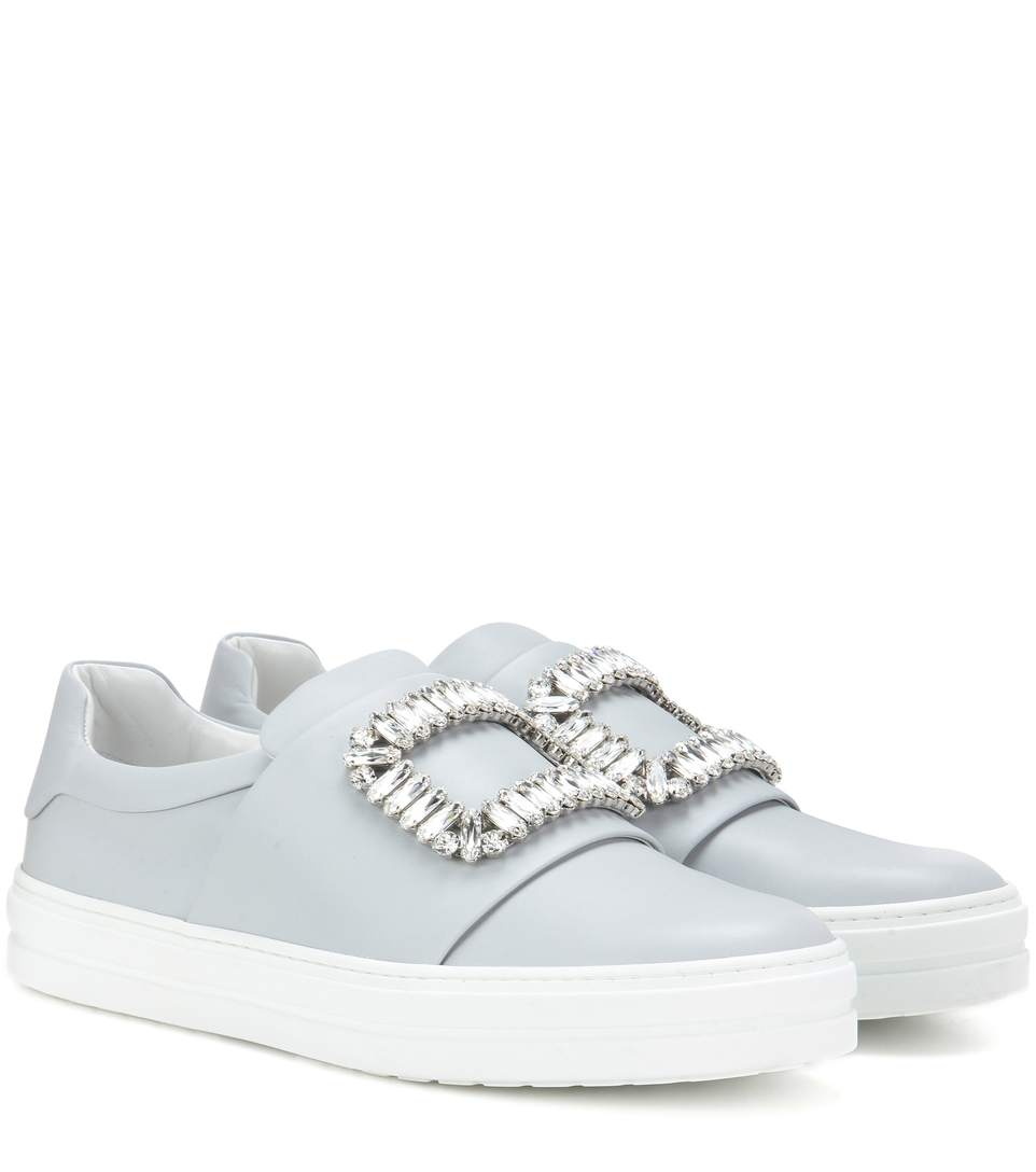 Sneaky Viv Embellished Leather Sneakers, White