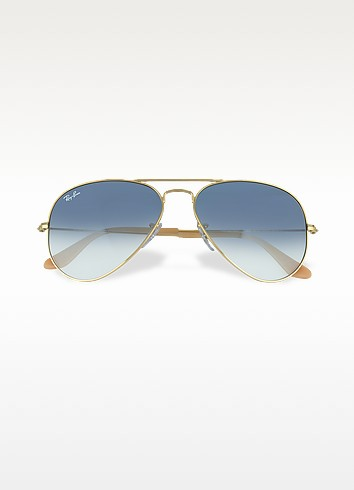 Ray-Ban Aviator Large Metal Sunglasses Rb3025 0013F 58 | Gold Frame | Blue Gradient Lenses in Gold/Light Blue