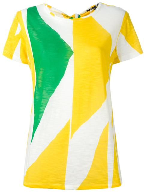 Woman Tie-Back Color-Block Slub Cotton-Jersey T-Shirt Yellow in Multicolour
