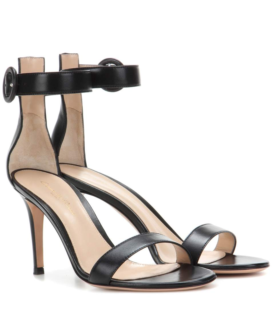 Portofino Patent Leather Ankle-Strap Sandals - Black Size 6