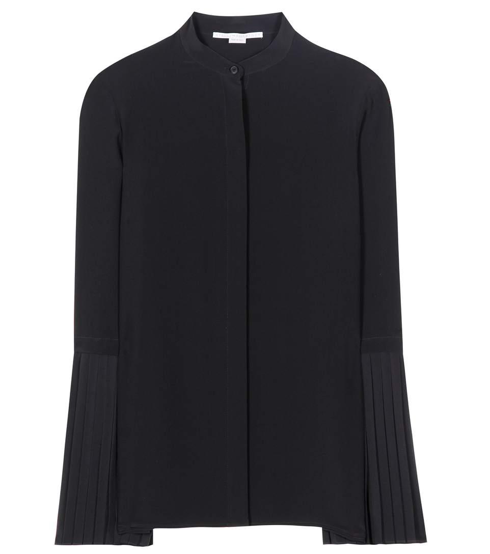 'Arielle' Pleated Sleeve Silk Shirt in Black