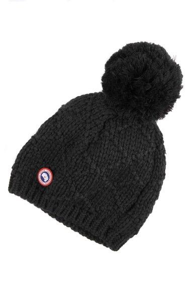 CANADA GOOSE Oversized Wool Pompom Beanie Hat, Black
