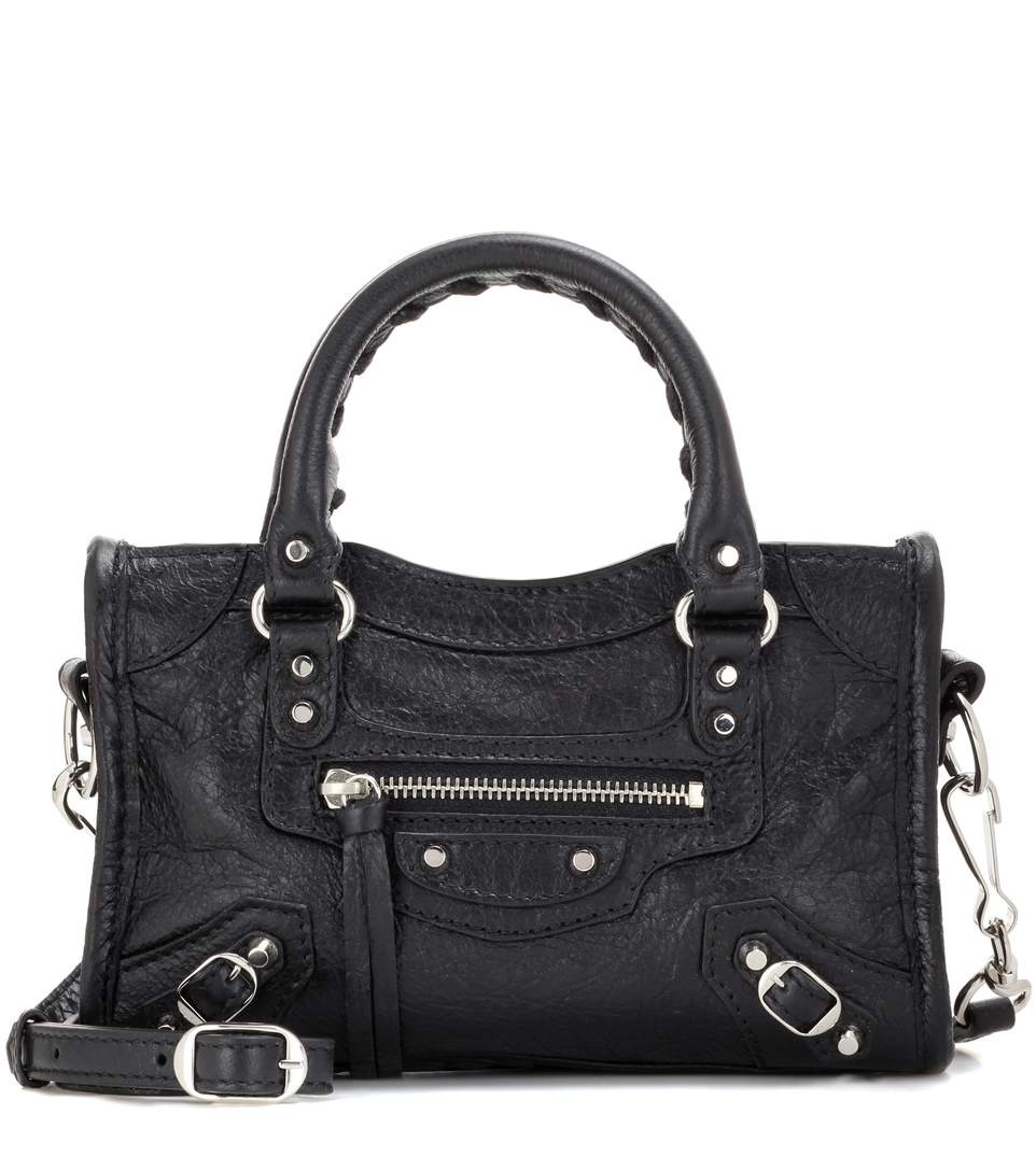 Medium City Oversize Spike Studs Shoulder Bag in Black