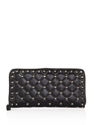 Rockstud Spike Quilted Leather Zip-Around Continental Wallet in Black
