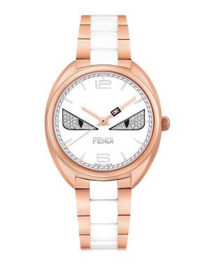 Momento Fendi Bug Diamond, Rose Goldtone Stainless Steel & Ceramic Bracelet Watch, Na