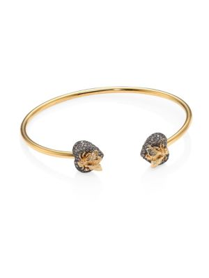 GIANVITO ROSSI Sterling Silver And 18K Yellow Gold Le Marché Des Merveilles Cuff With Grey Diamonds