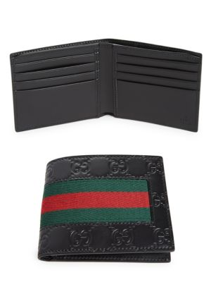 Logo-Embossed Signature Web Wallet, Black Gucci Signature