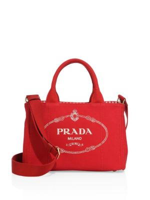 Printed Canvas Tote in Red