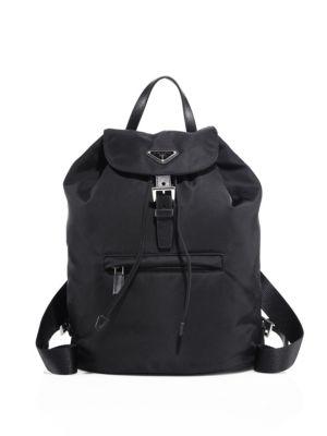PRADA Logo Plaque Nylon Backpack in Black