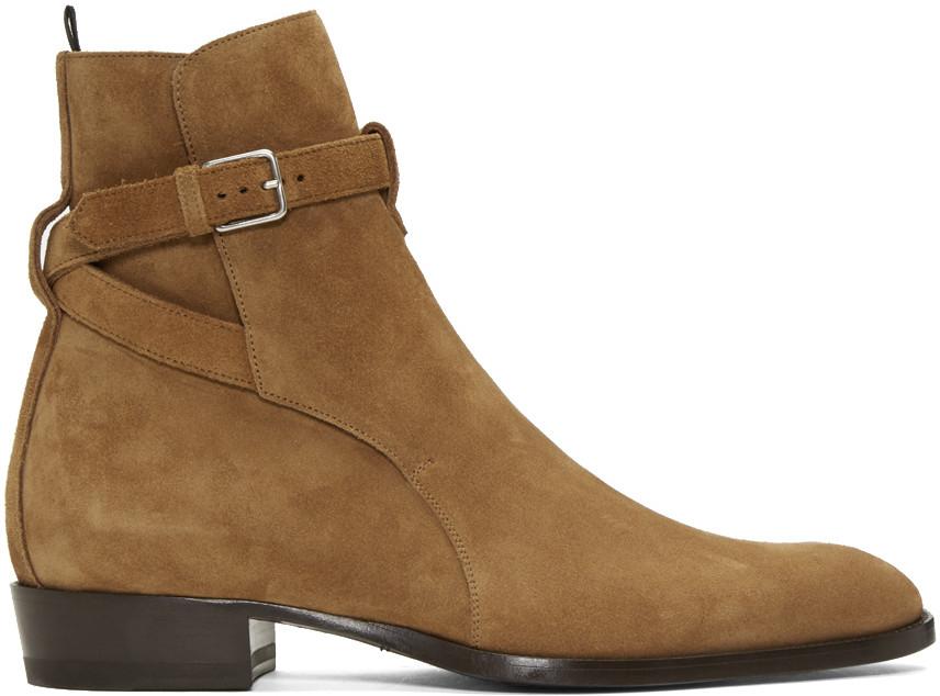 Saint Laurent Wyatt Suede Jodhpur Boots in . s8ASo0AX