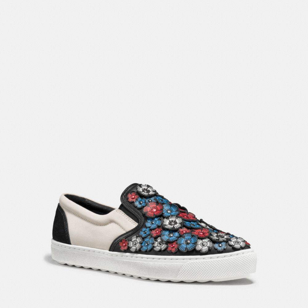Flower Embellished Slip-On Sneakers, : Black/Chalk