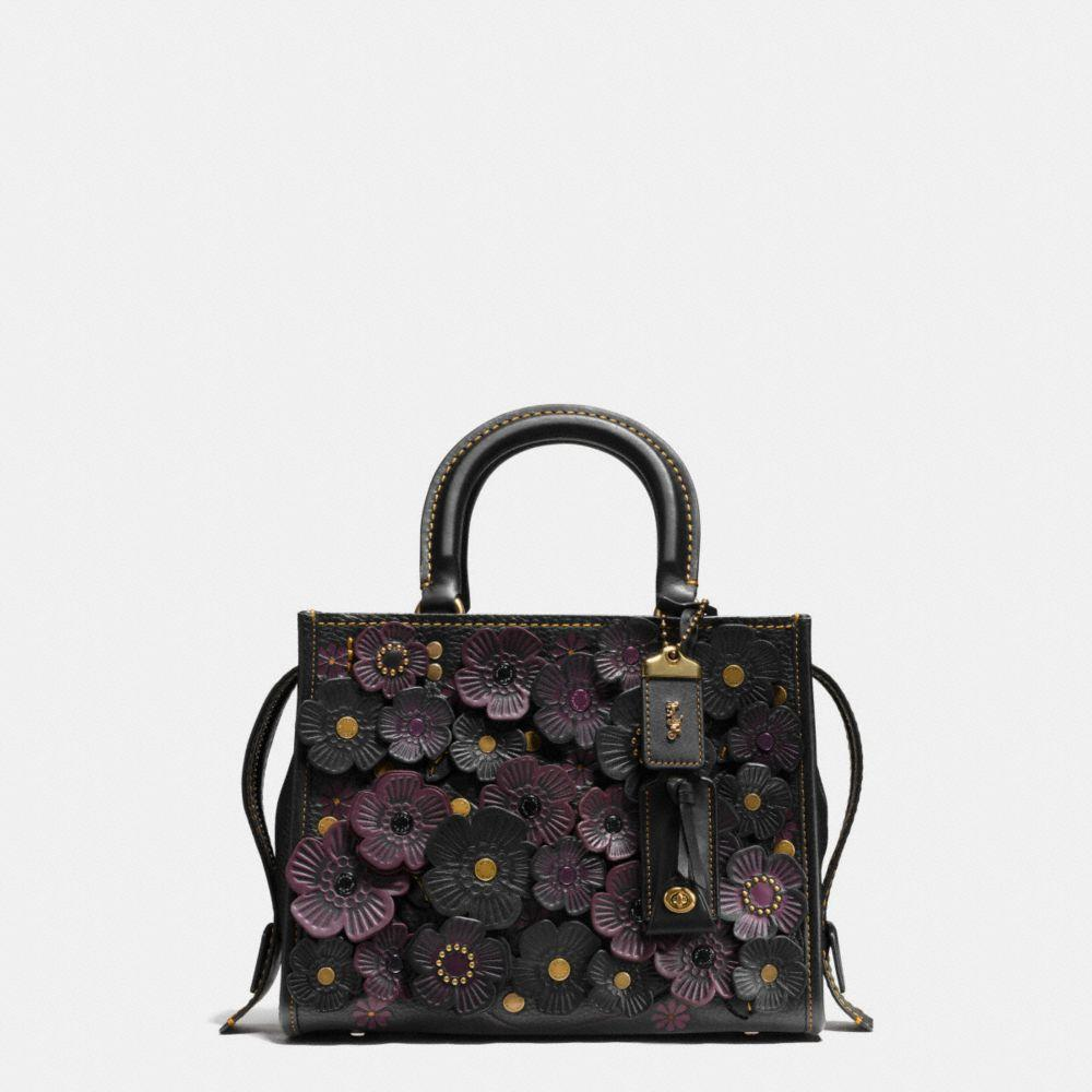 Rogue 25 In Glovetanned Pebble Leather With Tea Roses, Black