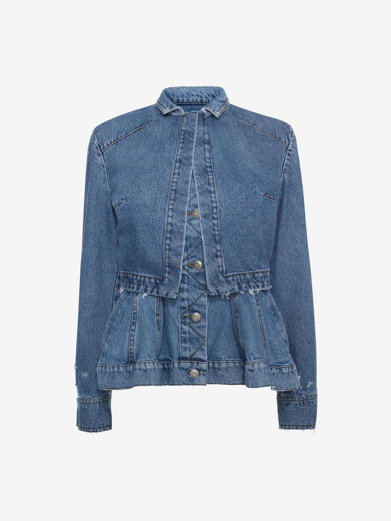 Denim Trompe L'Oeil Peplum Jacket, Middle Denim, Blue