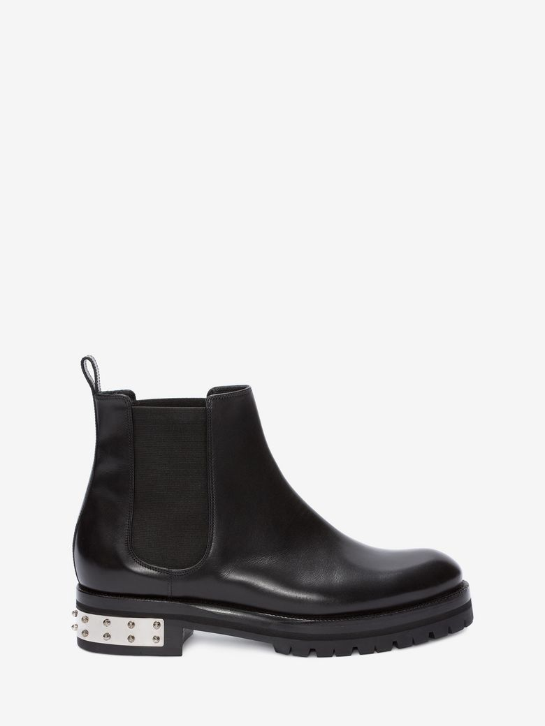 Embellished Leather Chelsea Boots, Black