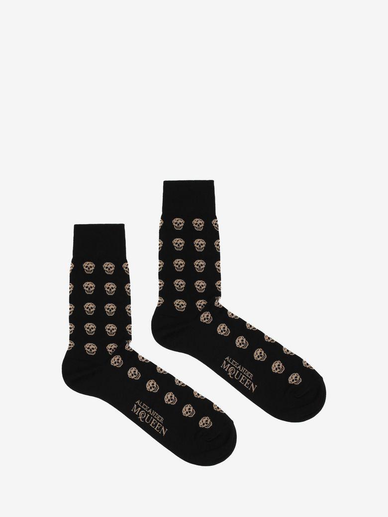 Short Skull Socks in Black Flesh