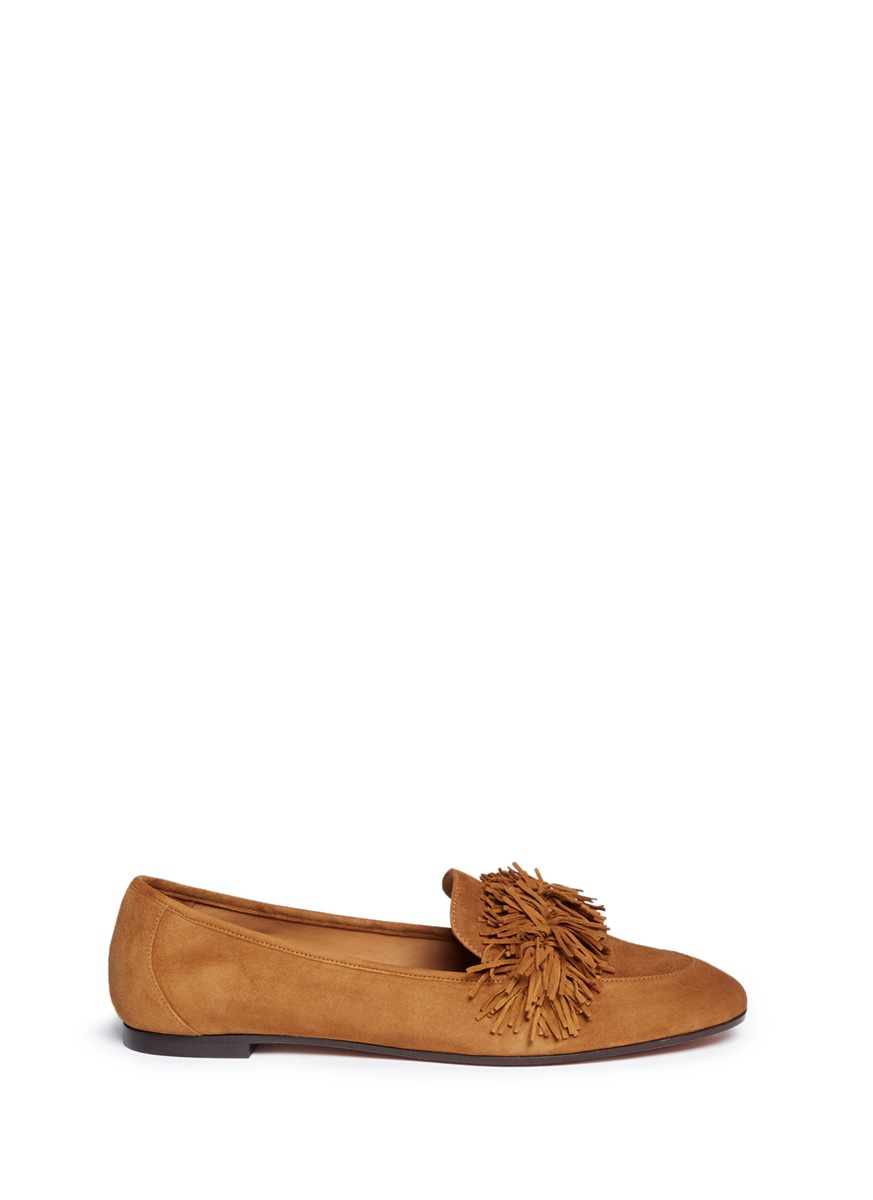 Woman Fringed Suede Loafers Camel, Cognac