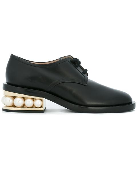 Casati Pearl-Heeled Nappa Leather Derby Shoes in Black