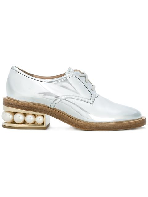 Casati Pearl-Heeled Patent-Leather Derby Shoes, Silver