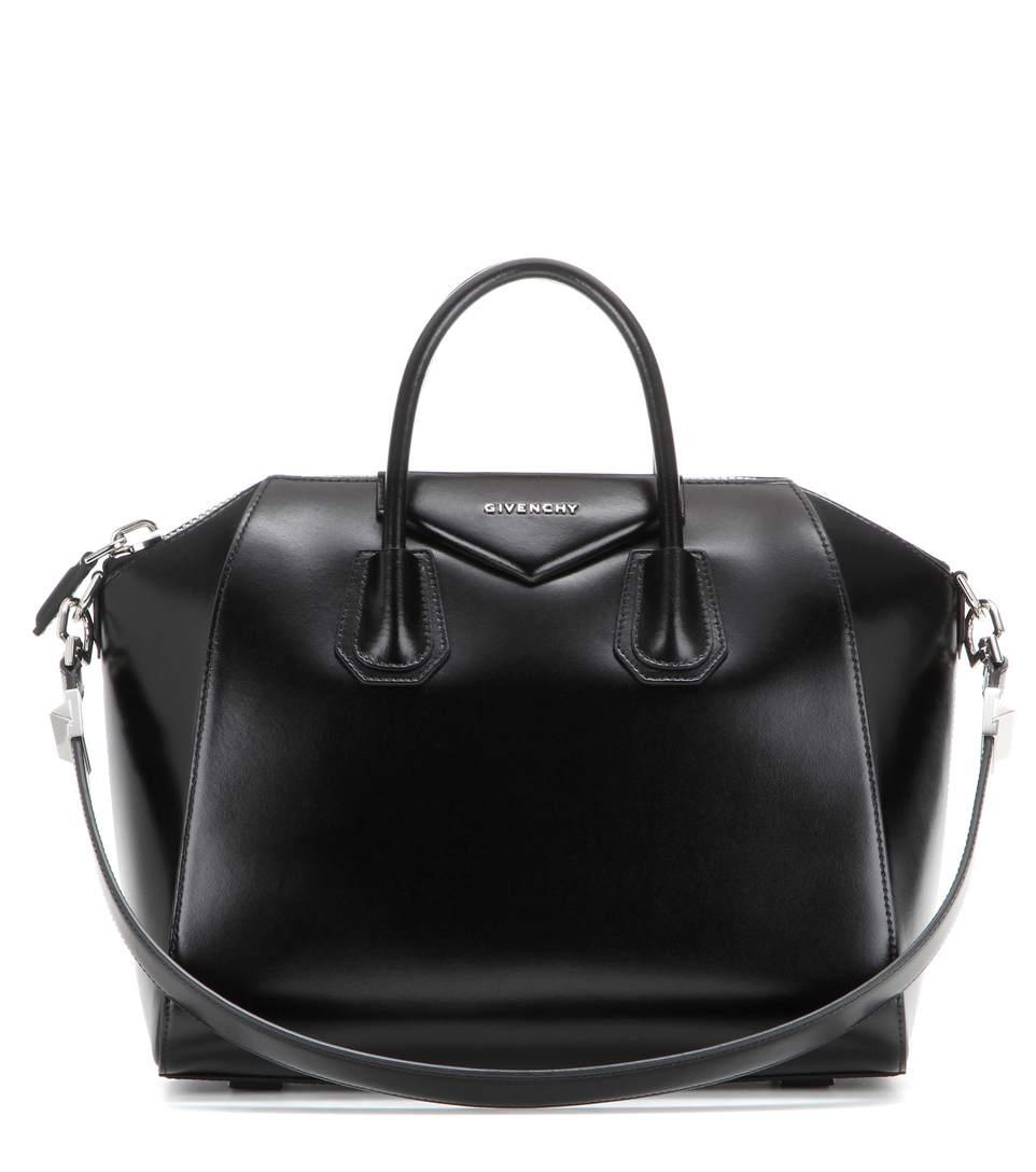 Medium Antigona Box Leather Satchel - Black