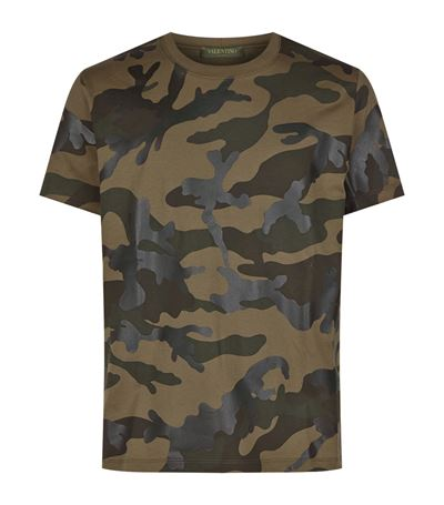 VALENTINO Vltn Camouflage-Print Cotton-Jersey T-Shirt, Military Green