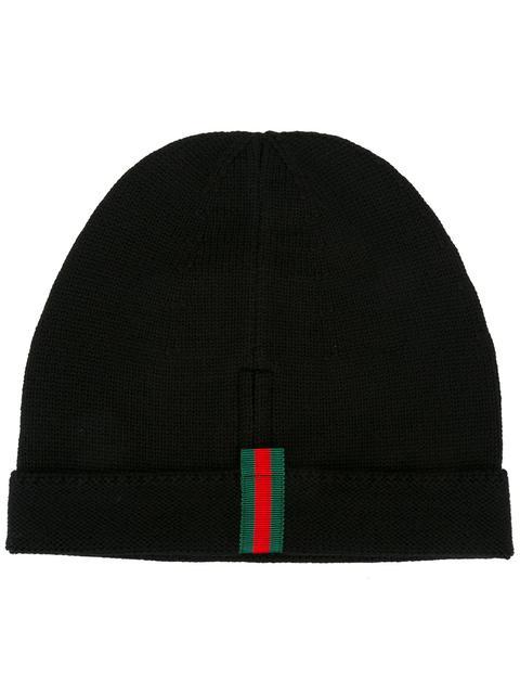 Web-Appliqué Wool Beanie Hat in Blue