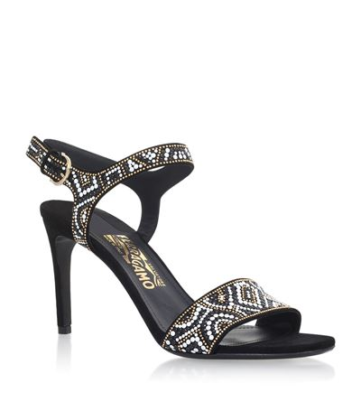 Ella Mosaic Heeled Sandals, Black