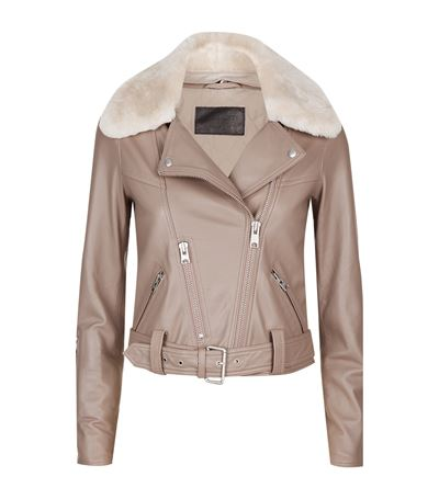 Pink leather jacket all saints