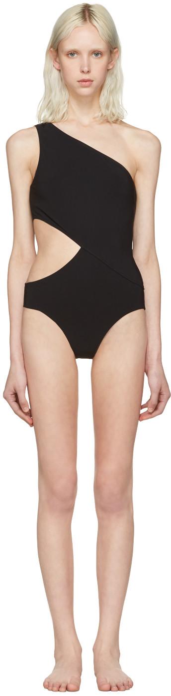 ARAKS Woman Elmar One-Shoulder Cutout Swimsuit Black