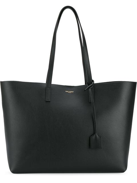 Large East-West Perforated Leather Shopping Tote Bag in Black
