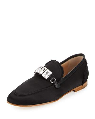 Frayed Satin Loafer W/Jewel Strap, Black
