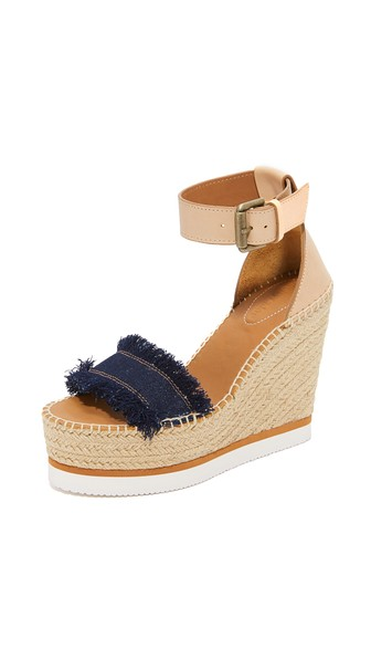 Glyn Leather & Frayed Canvas Espadrille Wedge Platform Sandals, Denim