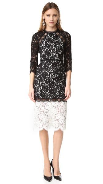 whitney black white. ALEXIS Whitney Bicolor Lace Midi Dress, Black/White Black White
