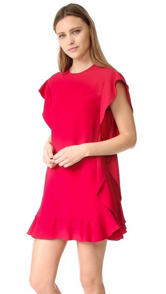 Ruffled crepe satin dress Red Valentino Tj0zg