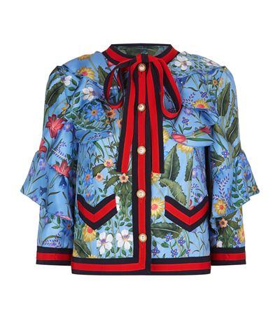 Women'S New Flora Ruffled Silk Jacket In Blue, Azure